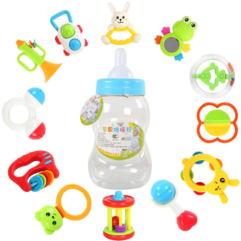 12Pcs Baby Rattle Teether Toys Lovely Newborn Early Music Education Hand Shake Toys Set With Baby Milk Bottle Colorful Kids Gift