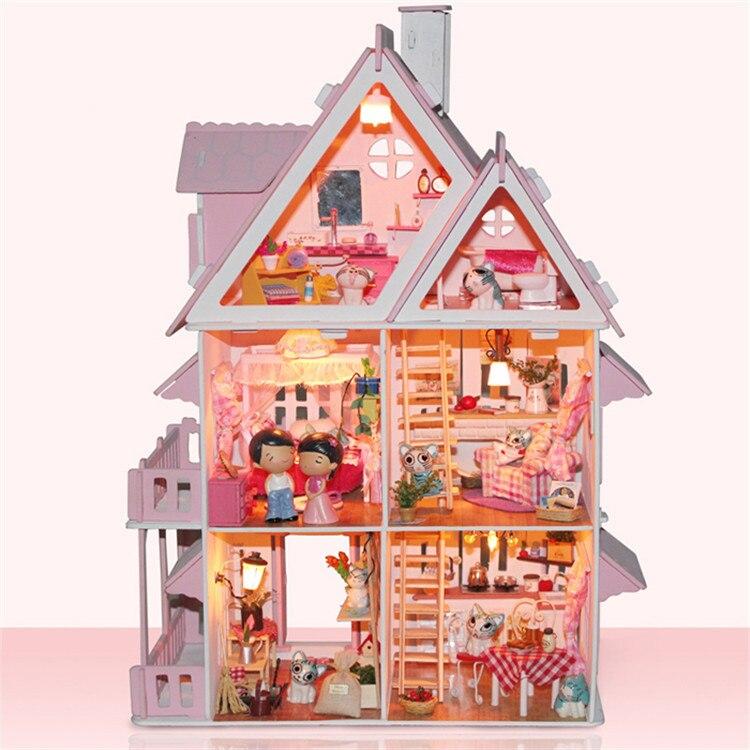 madera diy modelo de casa de muecas casas de muecas de regalo hechos a mano de