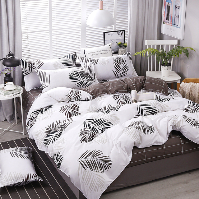New Leaves Printing High Quality 4pcs/set Bedding Set Bed Linings Duvet Cover Bed Sheet Pillowcases Cover Set