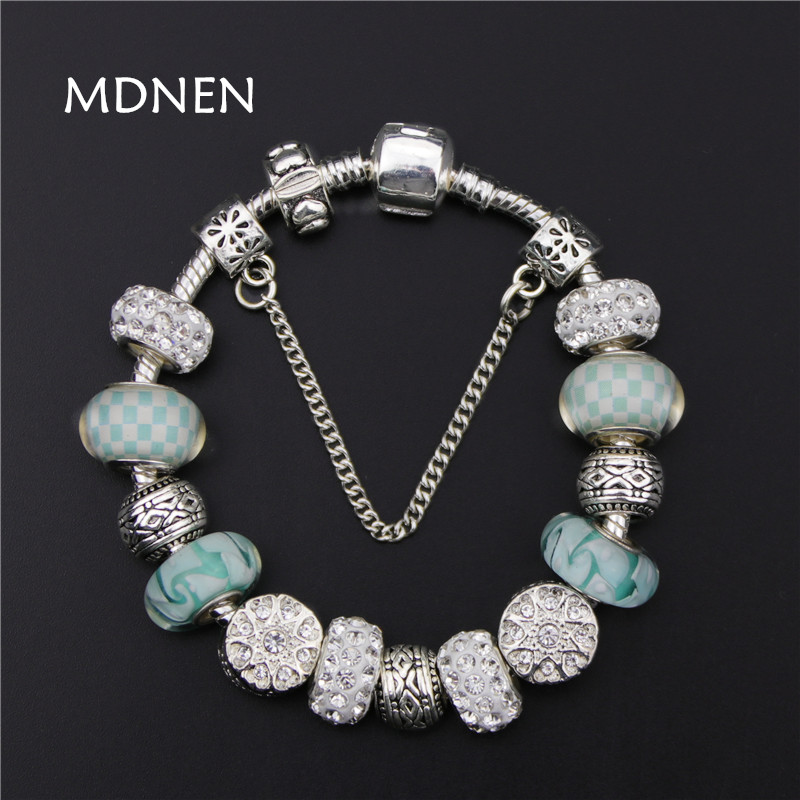 MDNEN Withe Crystal Beads Vintage Silver plated DIY <font><b>Charm</b></font> <font><b>Pan</b></font> <font><b>Bracelets</b></font> & Bangles For Women Fashion Gift BYBR028 image