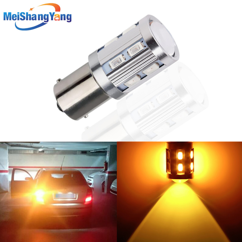 1156 BA15S <font><b>12</b></font> <font><b>SMD</b></font> Samsung chips 5730 Cree led chips p21w R5W Car LED bulbs rear brake Lights parking 12V Amber Yellow image