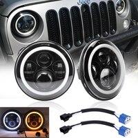 7Inch Led Headlights Black W/ Angel Eye Hi/Lo Beam Amber Turn Signal White Halo Ring DRL For Lada 4x4 urban Niva JEEP