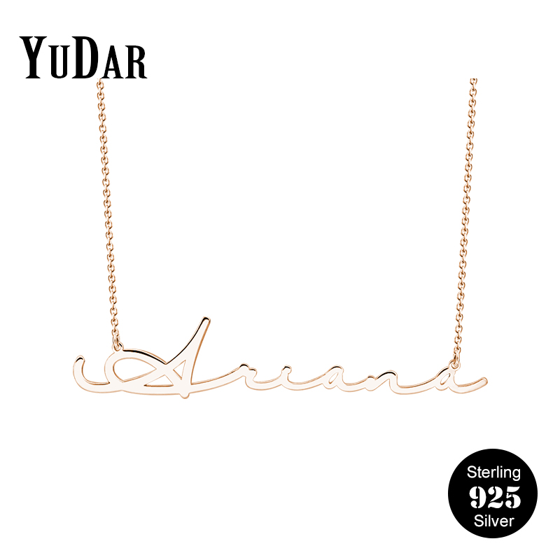 Personalized Signature Name Necklace 925 Sterling Silver Rhodium Valentine's Gifts for Women Girls Daughter Friends YDS-1036