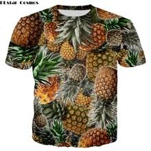 0cd9208128acb PLstar Cosmos 2018 verano nueva estilo moda T-shirt frutas piña collage 3D  imprimir hombres mujeres Casual Harajuku camiseta
