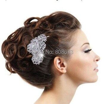 """3,3 """"gran pluma cristal pelo joyería elegante Bridemaid peine"""