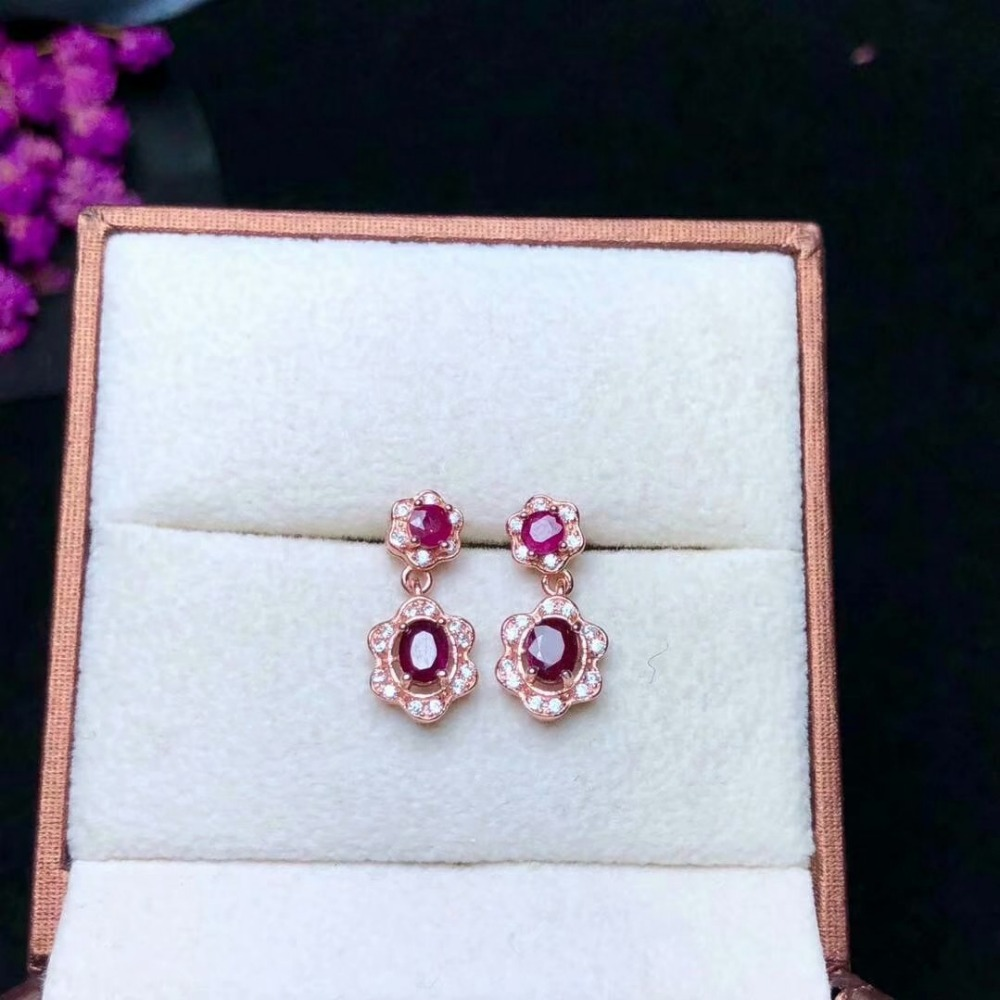shilovem 925 sterling silver Natural Ruby Stud Earrings fine Jewelry trendy women party gift new 3 4mm yhe030409agh in Earrings from Jewelry Accessories