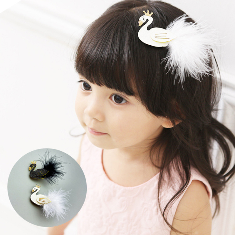 2pcs Glitter White Black Princess Temperament Swan Hair Clip with Gold Crown Cartoon Animal Goose Barrette Safe Girls Hairpins
