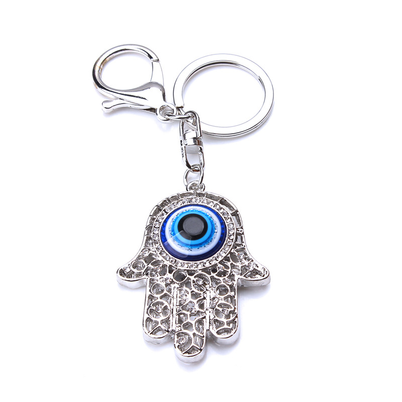 11.3cm Hollow Out  Hamsa Hand Pendant Key Chain Fashion Evil Eye Fatima Palm Key Ring For Women Men Jewelry Gifts