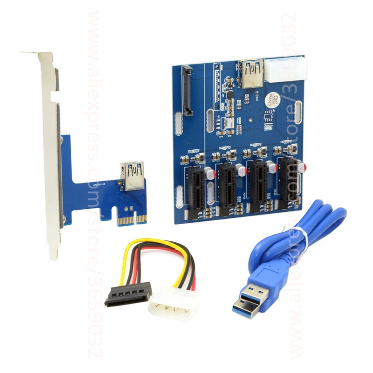 PCI-e Express 1x to 4 Port 1x Switch Multiplier Splitter Hub Riser Card with USB 3.0 Cable PCIE PCI e x1 to x1 hightek hk 5110a industrial grade 1 port rs232 485 to 4 port rs485 hub each port with optical isolation 600w thunder protection