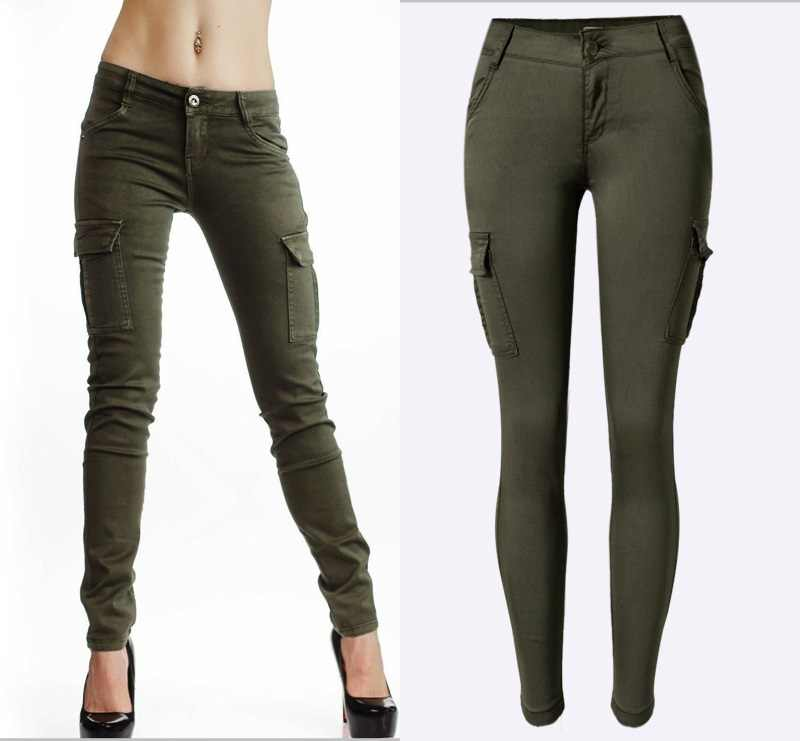 7a598d0d3be ... Fashion Army Green Jeans Women Sexy Low Rise Ladies Skinny Jeans Slim  Femme Plus Size ...