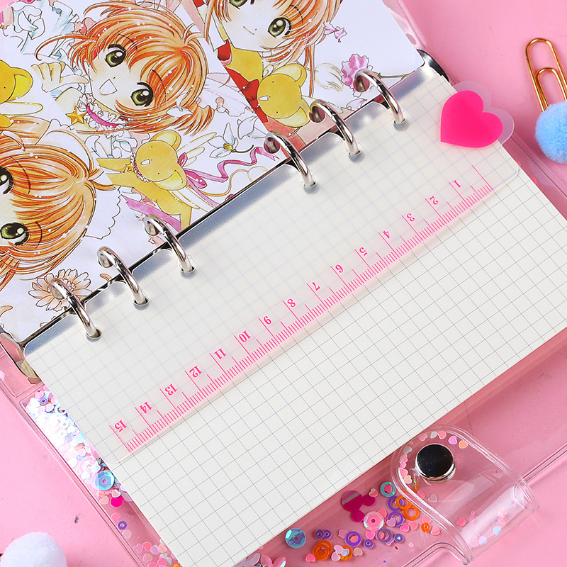 Cute A5 A6 Transparent PP Ruler Pink Heart Style, Loose Leaf Spiral 6Holes Notebook Planner DIY Accessory