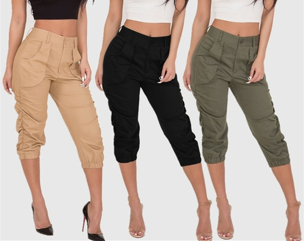 Fashion Summer New Women's Cargo Pant Knee Length High Waist Casual Cropped Trousers Pants Capris Harem Pants Female PT019