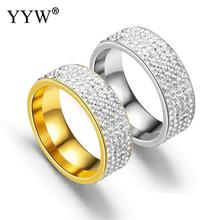YYW Fashion Wedding Jewelry Clear Crystal Finger Rings Stainless Steel Engagement Rhinestone Iced Out Bling CZ Ring