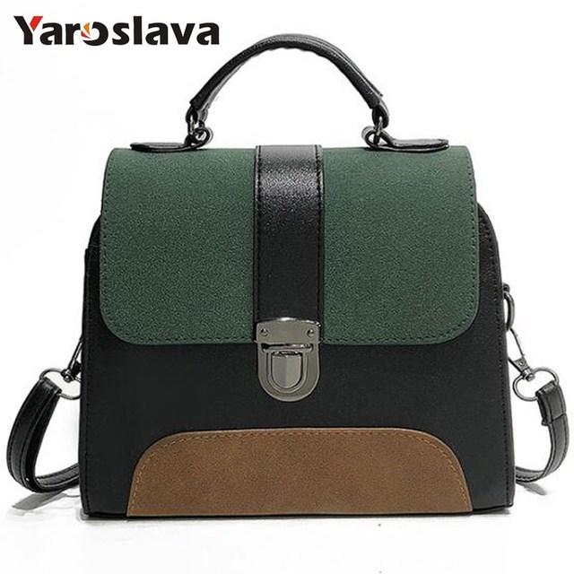 Women Casual Leather Sling Handbag Girls Crossbody Bag Patchwork Color Messenger Shoulder Bag Female Elegant Handbag