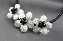 Wedding Woman Jewelry Flower Chokers Necklace AAA Natural Real Pearl Handmade Pretty Three Flowers Necklace Black