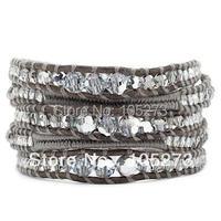 Nieuwe Arriver Chirstmas Sieraden! Crystal Mix Afgestudeerd Draad Wrap Armband Op Natural Grey Leer 32'-34 inch Gratis Verzending