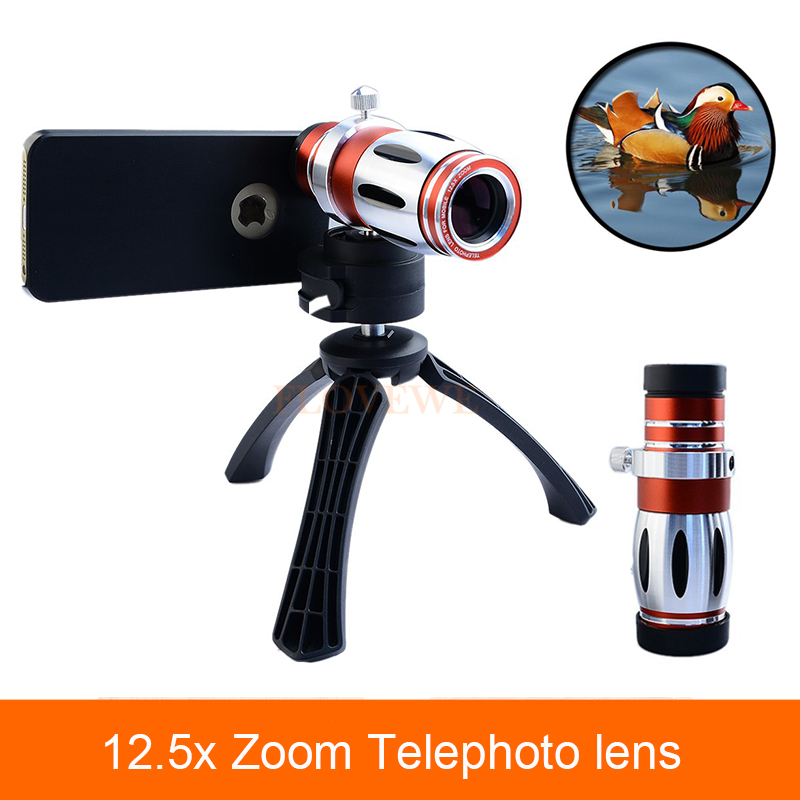 High end 12.5X Telescope Zoom Telephoto Lens For iPhone 6 6s 7 Plus Phone Camera Lenses Case For Samsung Galaxy S7 S6 edge Plus