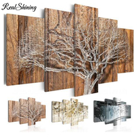 5 panel Multi pictures Natural Tree Landscape Fly Bird 5d diy Diamond painting full Square/round Drill Diamond Embroidery FS3840