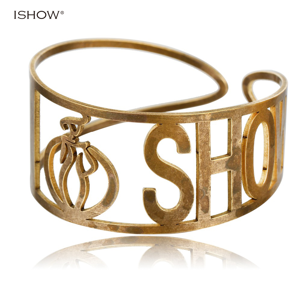 ISHOW New Gold-color Cuff Bangles Woman Hollow Copper Bracelet Adjustable Punk Silver Cuff Bracelets & Bangles Bileklik punk style exaggerated square hollow out conjoined ring cuff bracelet for women