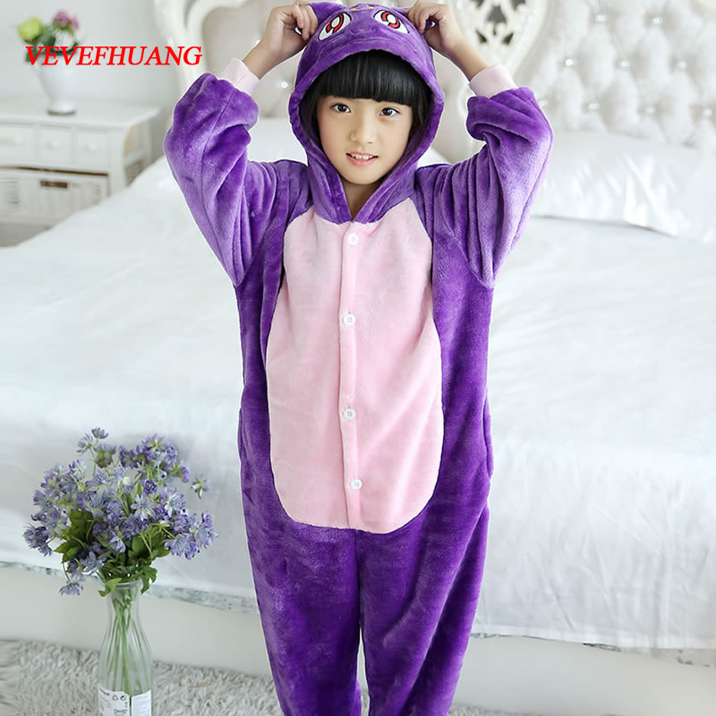 VEVEFHUANG Children Flannel Pyjamas Kids Animal Onesie Pijama Cartoon Cosplay Costumes Pajamas Purple Cat Sleepwear For