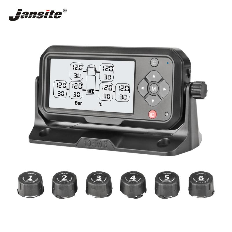 Jansite Camion TPMS Solaire De Charge système de surveillance de Pression des Pneus tpms De Voiture système d'alarme auto Sans Fil Avec Six capteurs externes