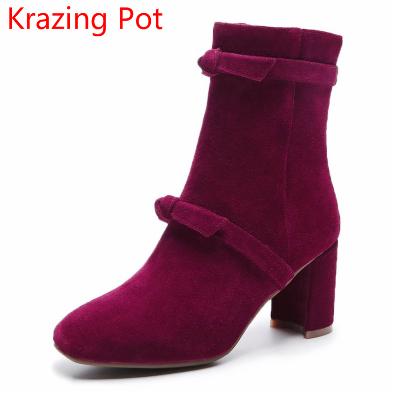 все цены на 2018 New Arrival Cow Suede Zipper Bowtie High Heels Keep Warm Large Size Winter Boots Handmade Runway Fashion Mid-calf Boots L03