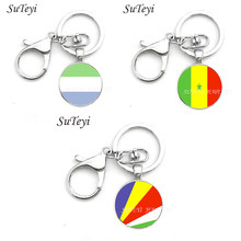 Hot Sierra Leone and Senegal and Seychelles national flag Stripes and Stars Charm Pendant Patriotic Keychain Key Ring Key Fob(China)