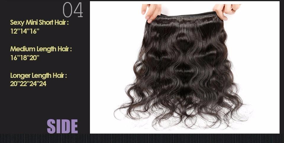 Brazilian Virgin Hair Body Wave 4 Bundles brazilian hair weave bundles 100% Unprocessed Virgin Human Hair Bundles Brazilian  Body Wave Alimice (4)