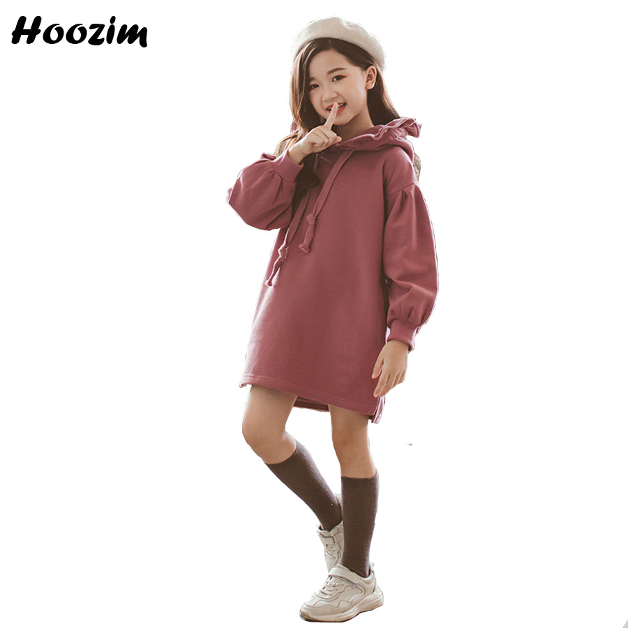 Winter Thick Velvet Long Sweatshirt For Girls 9 10 11 12 Years Casual Purple Ruffle Hooded Hoodies Kids Autumn Children Clothes цены