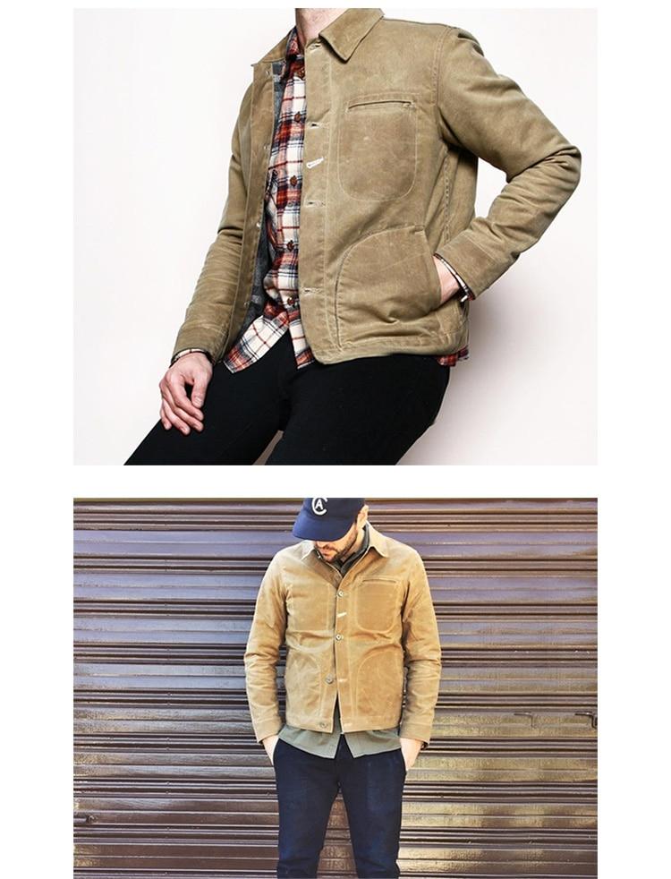 HTB1e1XqXinrK1Rjy1Xcq6yeDVXaf MADEN Men's Waxed Canvas Cotton Jacket Military Light Spring Work Jacket Khaki