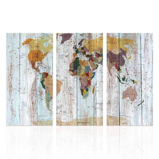 3 Piece Canvas World Map.3 Pieces Canvas Prints Composite Map Wall Art Color World Map On