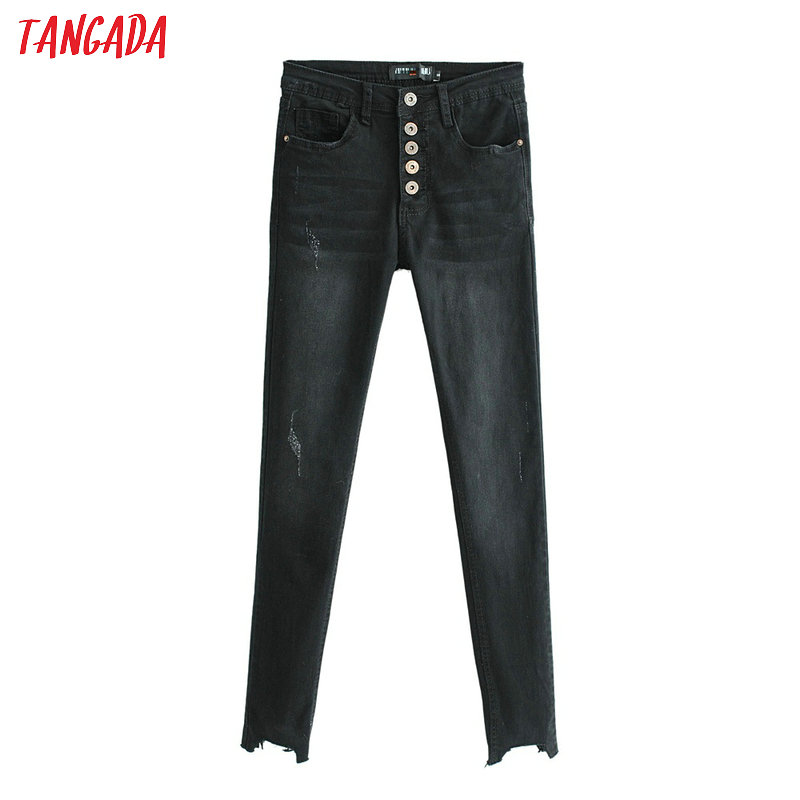 Tangada Women Irregular Black Jeans Retro Female Stretch Jeans Ladies Ankle Length Skinny Jeans Slim Trousers FN52