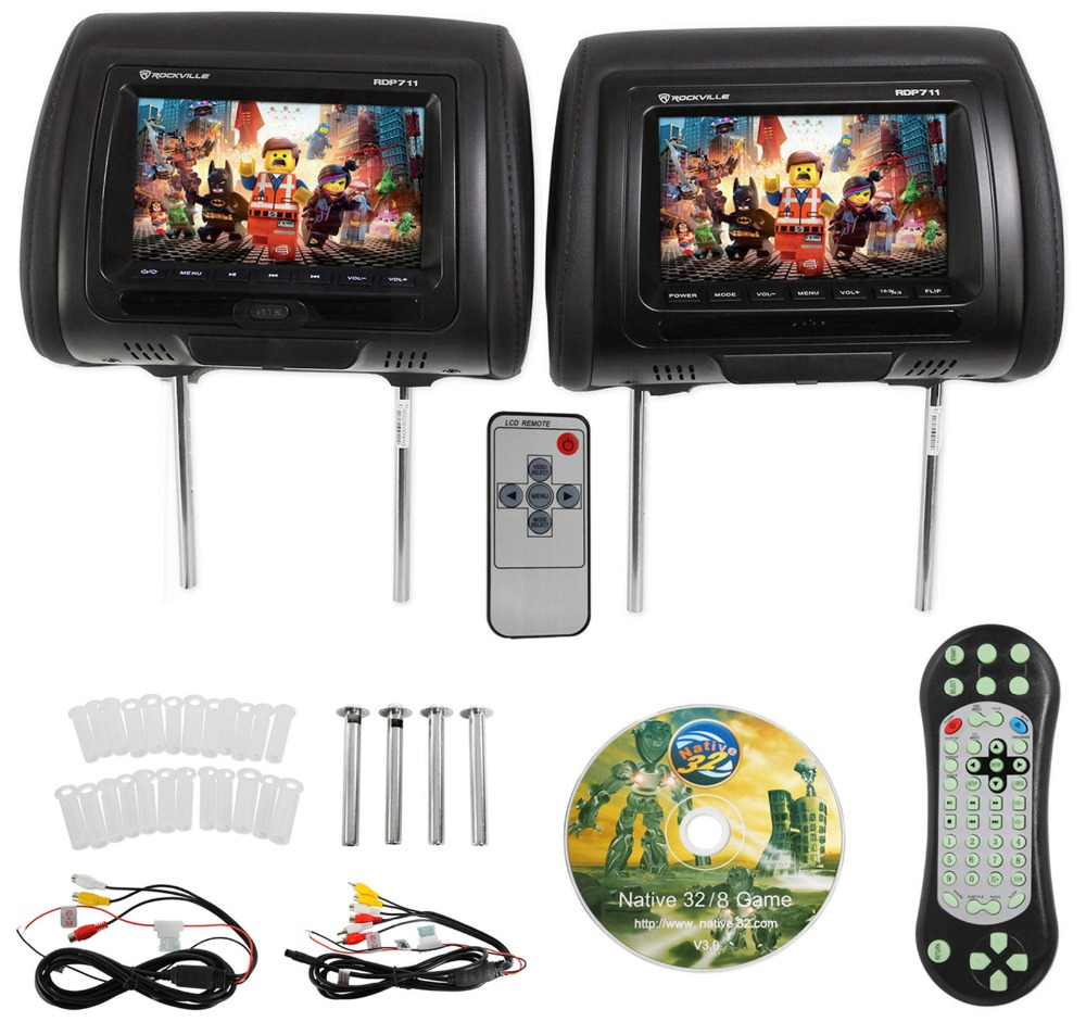 7 pouces Noir Voiture DVD/USB/HDMI Moniteurs Voiture D'appui-Tête avec IR Émetteur Haut-parleurs Internes Vidéo Jeux FM