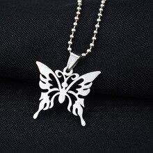 Модное ожерелье из нержавеющей стали с полой бабочкой, серебряная цепочка, трендовая Подвеска для женщин и мужчин, лучшее качество, крутые вечерние ювелирные изделия в стиле панк