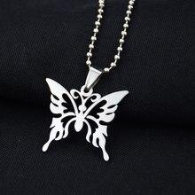 Moda Hollow Butterfly naszyjnik ze stali nierdzewnej łańcuch Trendy wisiorek dla kobiet mężczyzn najlepsza jakość fajne Punk Party biżuteria