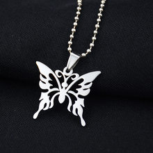 Fashion Hollow Butterfly Stainless Steel Necklace Silver Chain Trendy Pendant For Women Men Best Quality Cool Punk Party Jewelry(China)