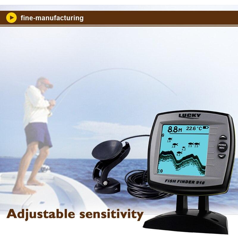 FF918-180S Fish Finder Wired Transducer Sensor Fishfinder 45 Degrees Echo LCD Fish Locator Boat EnglishRussian Menu Pesca Probe (7)