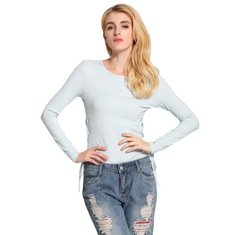 Señoras Solid Manga Larga Suéter Camisa Bandigan Punto Jersey de Cuello Redondo