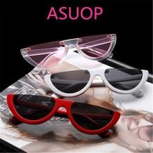 ASUOP new retro cat eyes ladies sunglasses mens semi-circle triangle fashion glasses transparent UV400 classic