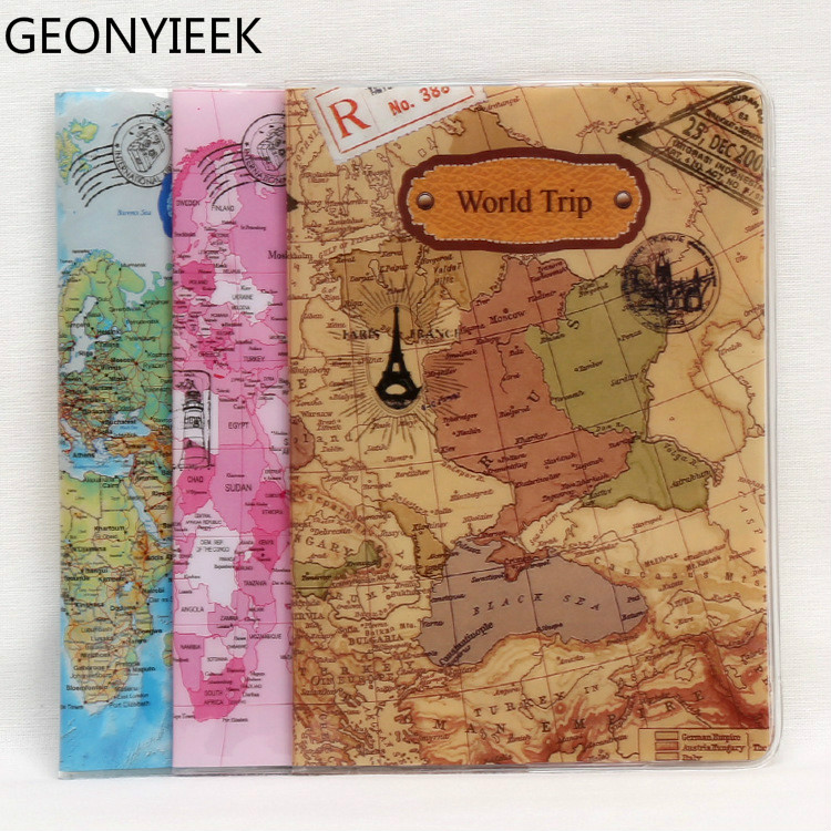 2018 New World Trip Map Travel Passport Covers for Men PVC Leather ID font b Card