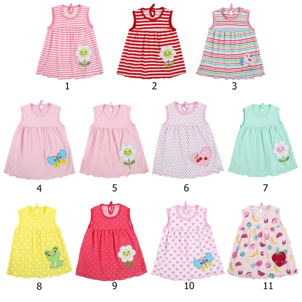 Loveble Summer Baby Girls Casual Solid Color Sleeveless Cute Princess Dress