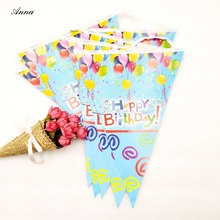 Happy Birthday Party Banner Shape Decor Pennant Cartoon Supplies Baby Decoracion