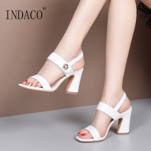 Sandals Women Summer Shoes Footwear Genuine Leather Open Toe Thick Heel