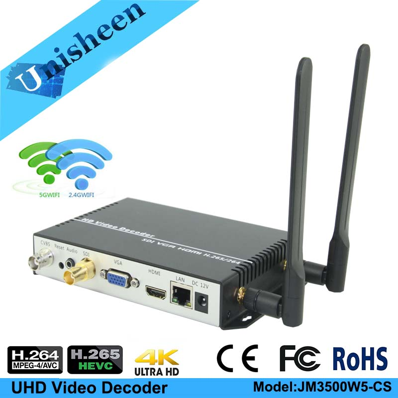 H.265 H.264 UHD Video Decoder SDI VGA HDMI Output Repleace Topbox &PC Transmitter IP Encoder Rtmp  Boarcast Decoder