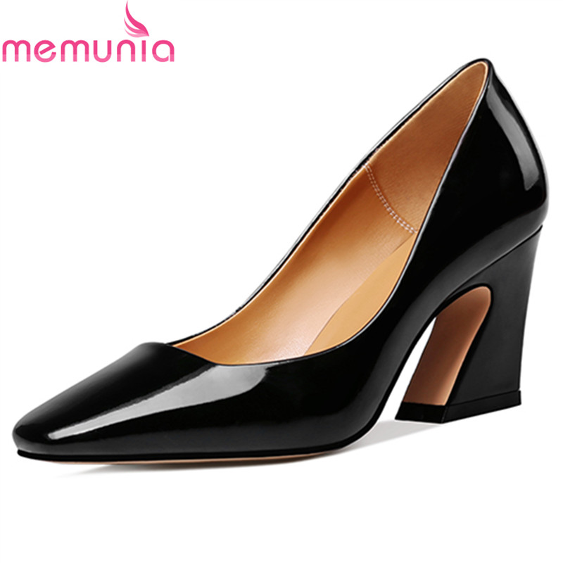 MEMUNIA spring autumn fashion genuine leather women pumps thick high heels square toe concise dress ladies shoes zorssar 2018 new fashion crystal genuine leather thick heel womens shoes heels square toe high heels pumps ladies dress shoes