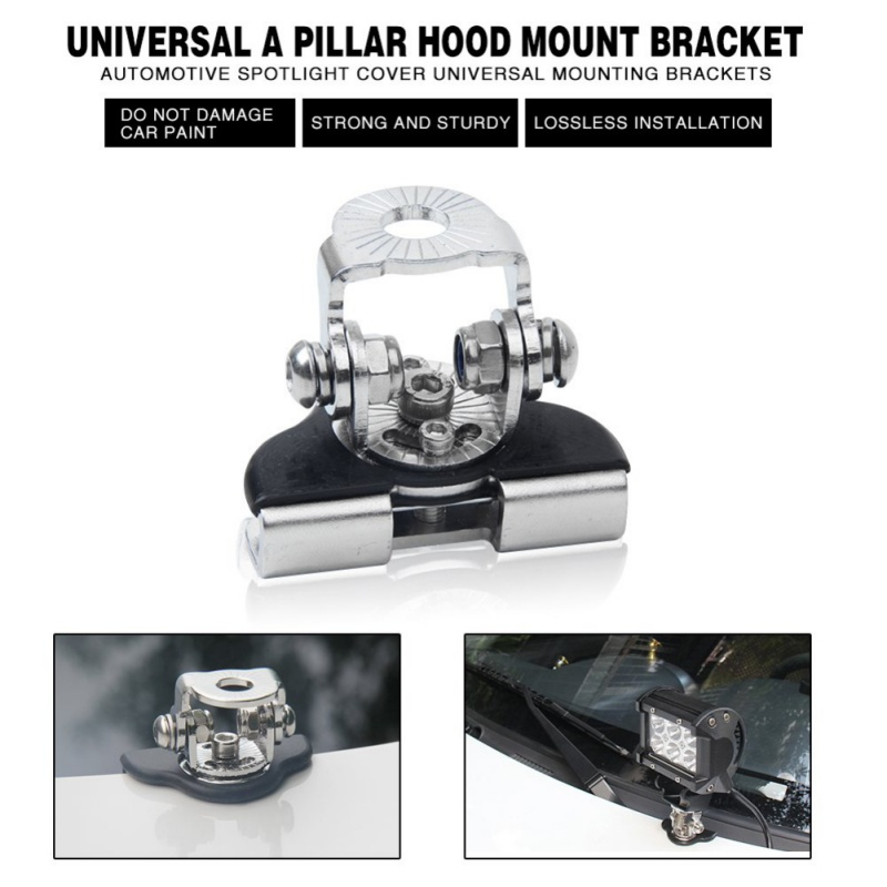 2Pcs Universal Stainless Steel Car Auto Hood LED Work Light Bracket Offroad Excavator Truck Engine Cover Work Lamp Mount Holder