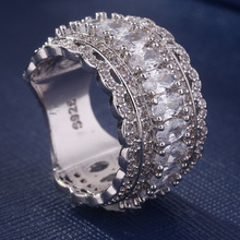 цена на Hot S925 pure silver inlaid zirconium jewelry classic European and American popular ring