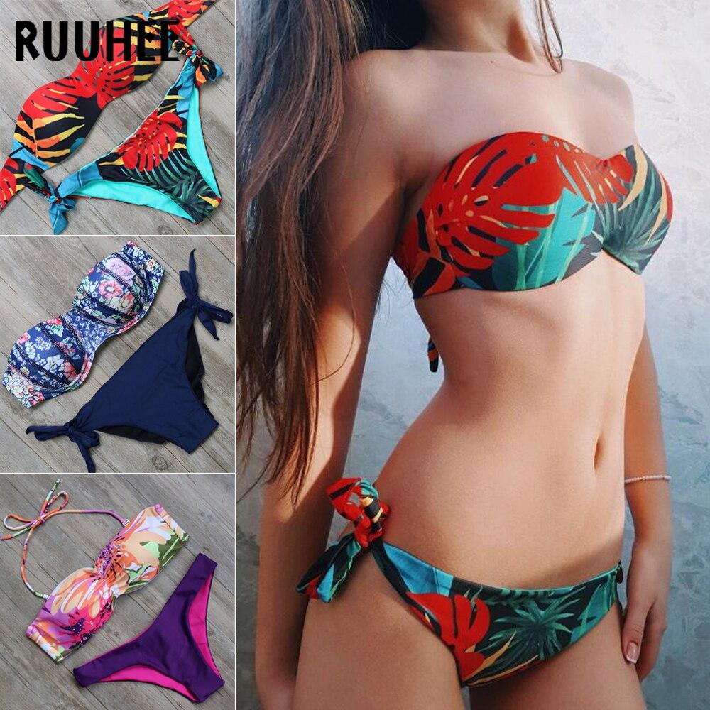 RUUHEE Bikini 2018 Swimwear Swimsuit Women Bikinis Set Push Up Bathing Suit Mid Cut Swimwear Swimsuit Female Summer Beachwear ruuhee one piece swimsuit swimwear bodysuit bikini set women black