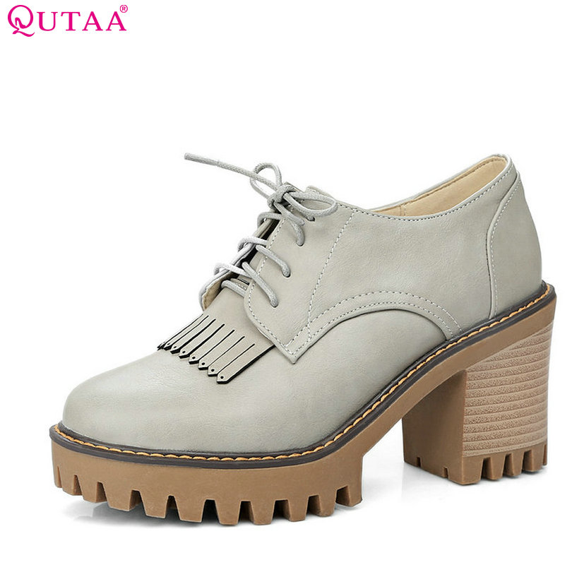 QUTAA 2017 Women Pumps Spring Ladies Shoes Square High Heel PU leather Round Toe Lace Up Tassel Woman Wedding Shoes Size 34-43 стоимость