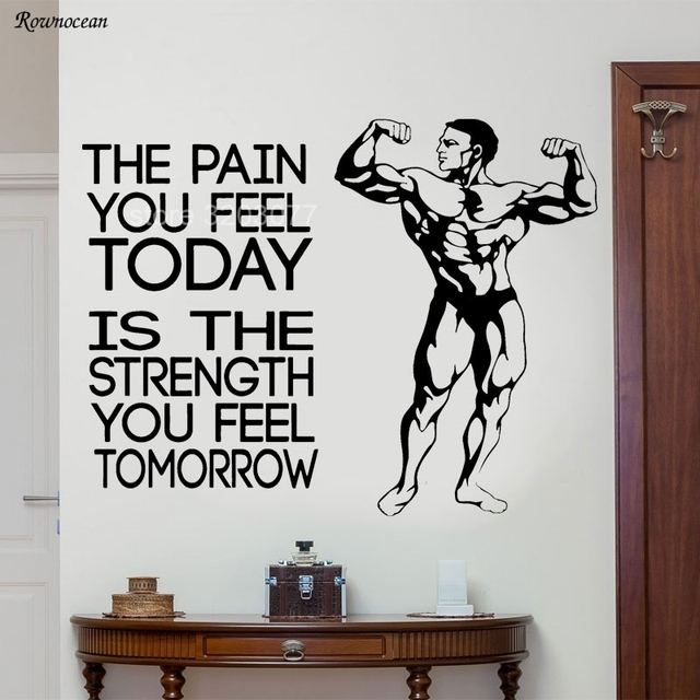 The Pain You Feel Today Motivational Vinyl Wall Sticker Quotes Fitness Muscle Men Gym Decor Strength